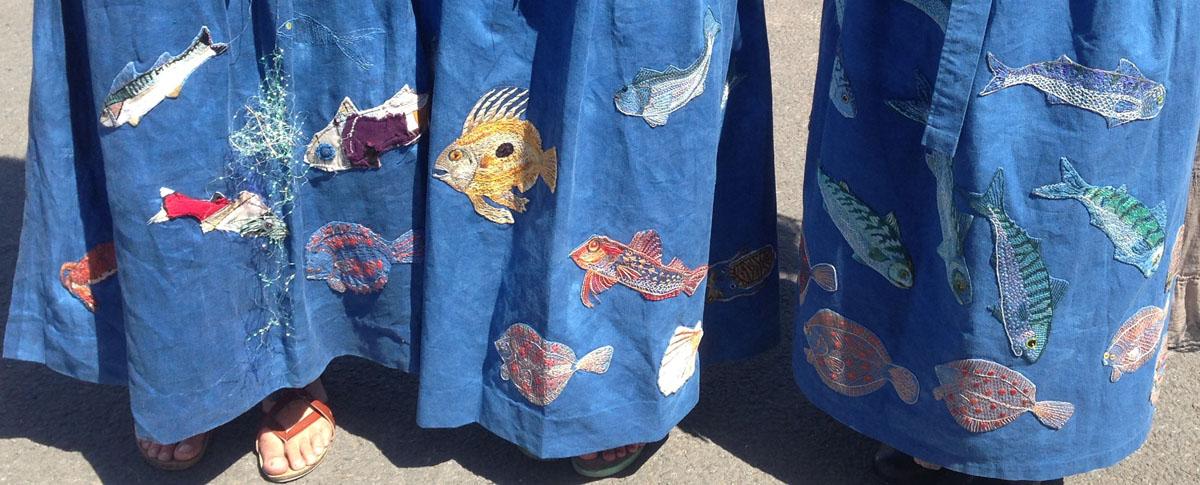mackerel, john dory, gurnard ... aprons made to commemorate the fish hawker women of Brixham