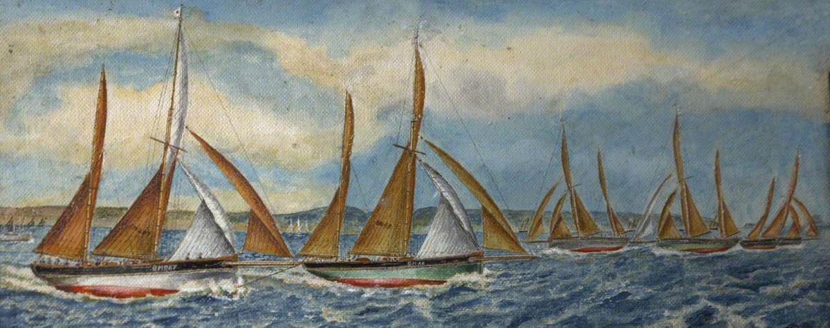 J.A. Lake - 1923 Regatta – The Winning Mark to Windward - 1954 - painting - detail